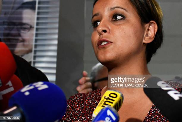 Former education minister candidate of the Socialist party for the legislative elections in the Rhone department Najat VallaudBelkacem speaks to...