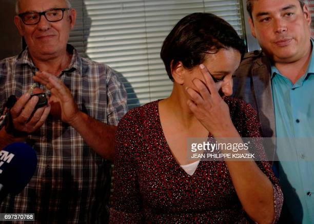 Former education minister candidate of the Socialist party for the legislative elections in the Rhone department Najat VallaudBelkacem reacts in...