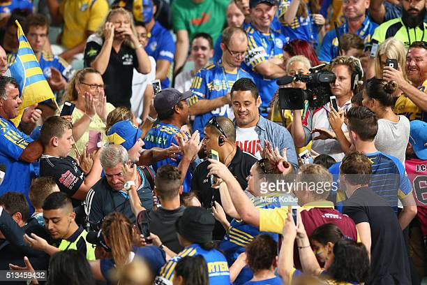 Former Eels player and San Fransico 49ers NFL player Jarryd Hayne walks through the crowd during the round one NRL match between the Parramatta Eels...