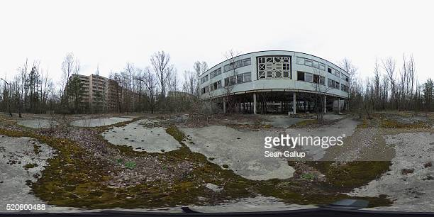 Former elementary school number three stands near apartment blocks on April 9 2016 in Pripyat Ukraine Pripyat built in the 1970s as a model Soviet...
