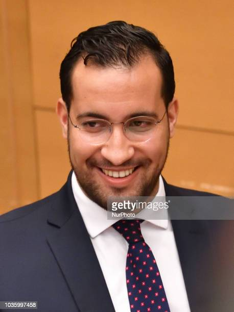 Former Elysee senior security officer Alexandre Benalla appears before a Senate committee as he is quizzed over his close ties to France's leader on...
