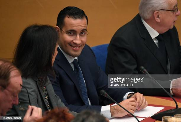 Former Elysee senior security officer Alexandre Benalla appears before a Senate committee in Paris on January 21 2019 as he is quizzed over alleged...