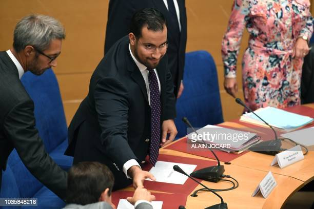 Former Elysee senior security officer Alexandre Benalla arrives for the start of a Senate committee which will quiz him over his close ties to...