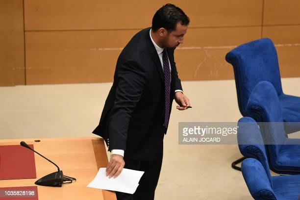 Former Elysee senior security officer Alexandre Benalla arrives to speaks to the senatorial commission in Paris on September 19 2018 Benalla who was...
