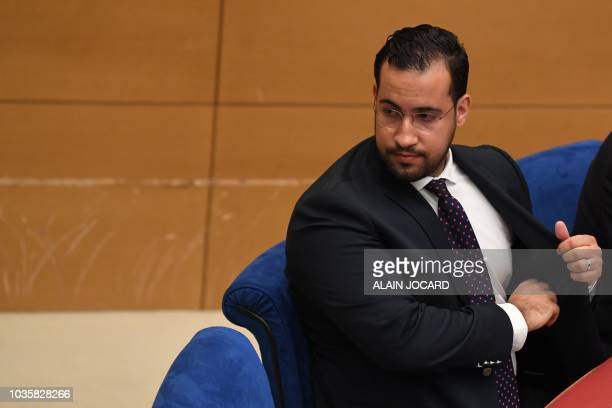 Former Elysee senior security officer Alexandre Benalla arrives to speak to the senatorial commission in Paris on September 19 2018 Benalla who was...
