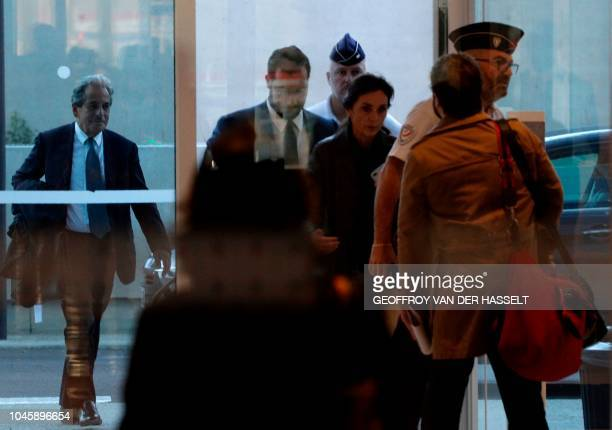 Former Elysee senior security officer Alexandre Benalla arrives with his lawyer Jacqueline Laffont along with French lawyer Pierre Haik at the...