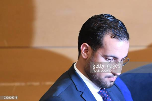 Former Elysee senior security officer Alexandre Benalla attends the start a Senate committee in Paris on September 19 2018 The disgraced former...