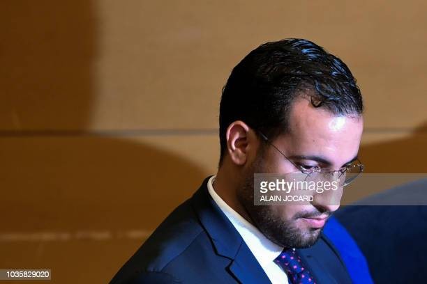 Former Elysee senior security officer Alexandre Benalla attends the start of a Senate committee in Paris on September 19 2018 The disgraced former...