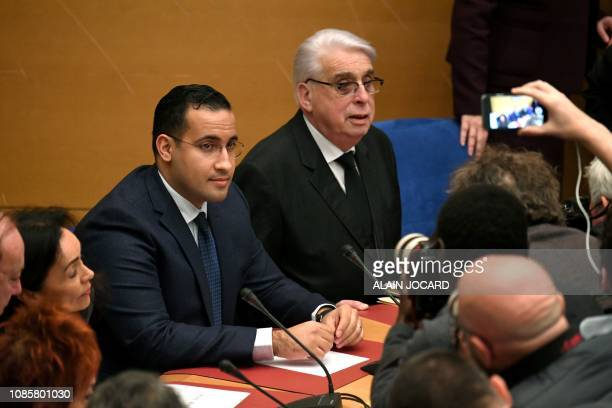 Former Elysee senior security officer Alexandre Benalla flanked by Senator and commisision speaker JeanPierre Sueur appears before a Senate committee...