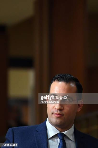 Former Elysee senior security officer Alexandre Benalla is seen after appearing before a Senate committee in Paris on January 21 2019 as he is...