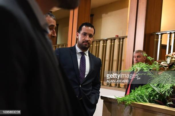 Former Elysee senior security officer Alexandre Benalla leaves a Senate committee as he is quizzed over his close ties to France's leader on...