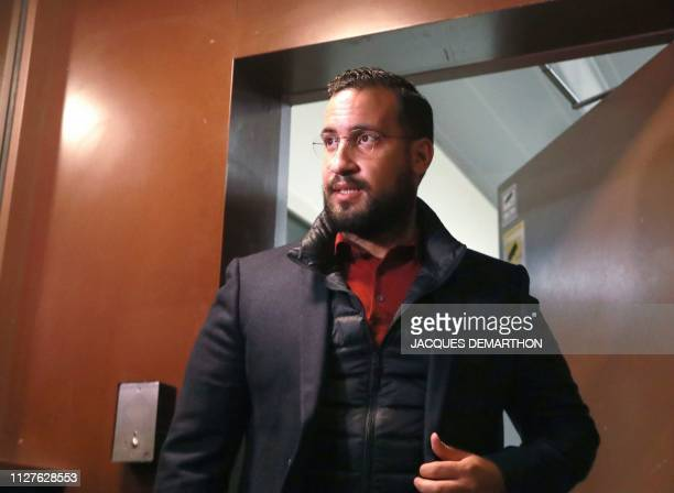TOPSHOT Former Elysee senior security officer Alexandre Benalla leaves after being released from provisional detention at the 'prison de la Sante' in...