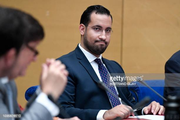 TOPSHOT Former Elysee senior security officer Alexandre Benalla looks over prior to the start a Senate committee in Paris on September 19 2018 The...