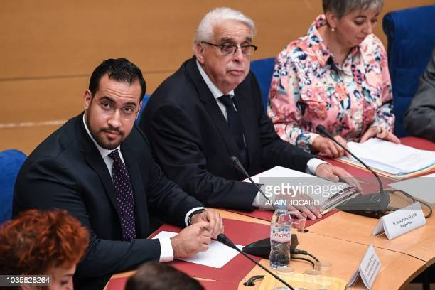 Former Elysee senior security officer Alexandre Benalla looks up prior to the start a Senate committee in Paris on September 19 2018 The disgraced...