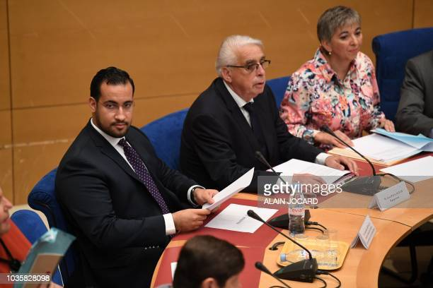 Former Elysee senior security officer Alexandre Benalla speaks to the senatorial commission in Paris on September 19 2018 Benalla who was videotaped...