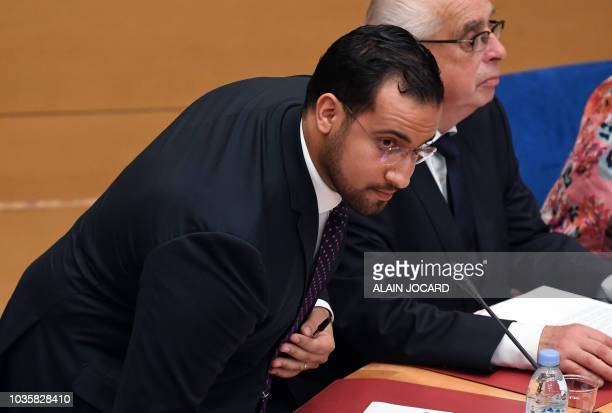 Former Elysee senior security officer Alexandre Benalla takes his seat before the start of a Senate committee in Paris on September 19 2018 The...