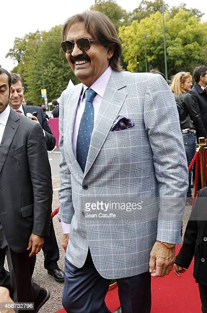 Former Emir of Qatar Sheikh Hamad ben Khalifa alThani attends the Qatar Prix de I'Arc de Triomphe at Longchamp racecourse on October 5 2014 in Paris...