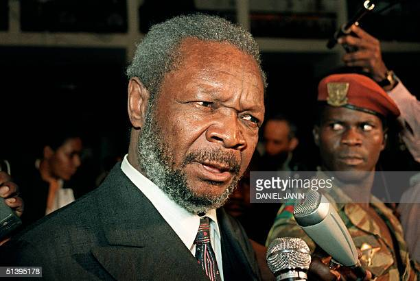 Former emperor of the Central African Republic JeanBedel Bokassa answers to the journalists 16 December 1986 during his trial at the law court of...