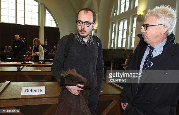 Former employee at services firm PwC Antoine Deltour and his lawyer William Bourdon speak at the courthouse in Luxembourg on April 26 before a trial...