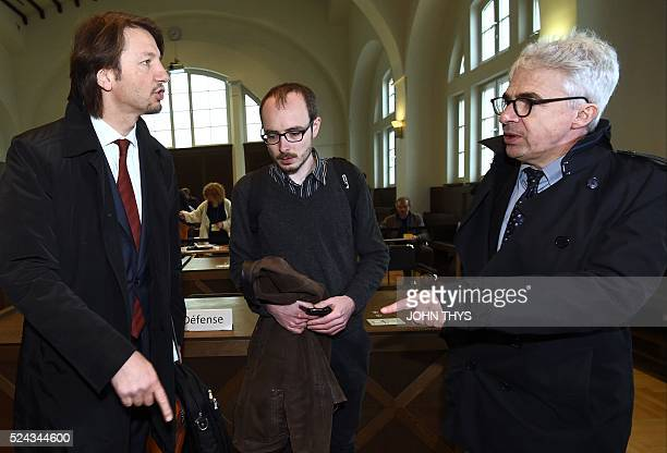 Former employee at services firm PwC Antoine Deltour and his lawyers Philippe Penning and William Bourdon speak at the courthouse in Luxembourg on...
