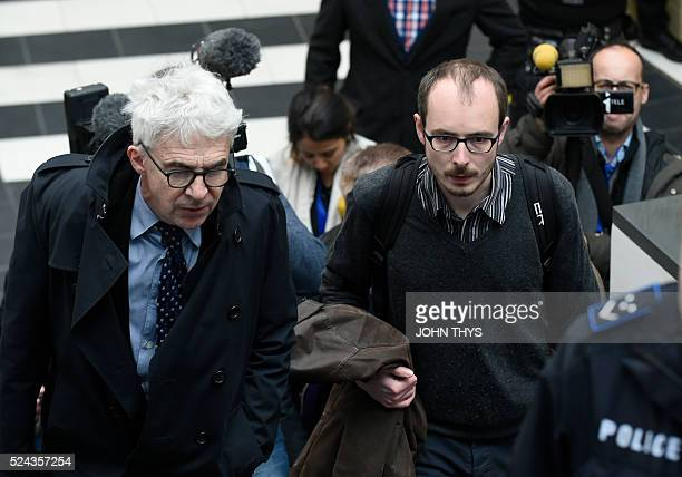 Former employee at services firm PwC Antoine Deltour arrives with his lawyer William Bourdon at the courthouse in Luxembourg on April 26 for a trial...