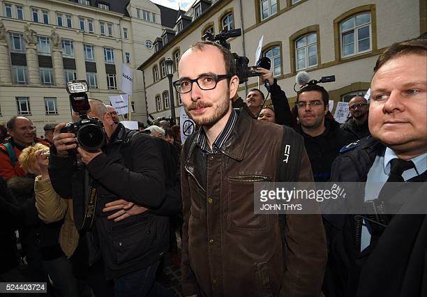 Former employee at services firm PwC Antoine Deltour leaves the courthouse in Luxembourg on April 26 during a trial over the socalled LuxLeaks...