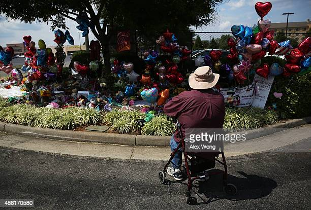 Former employee Paul Lancaster remembers his friend Alison Parker at a make shift memorial outside WDBJ September 1, 2015 in Roanoke, Virginia....