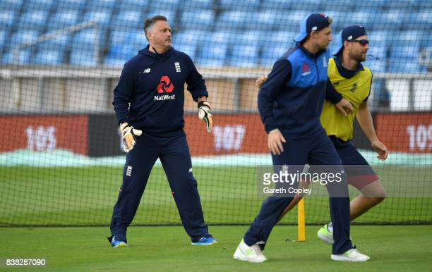 Former Engkand bowler Darren Gough plays in goal ahead of a nets session at Headingley on August 24 2017 in Leeds England