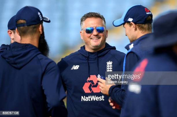 Former Engkand bowler Darren Gough speaks with Moeen Ali and Joe Root during a nets session at Headingley on August 24 2017 in Leeds England