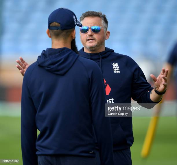 Former Engkand bowler Darren Gough speaks with Moeen Ali during a nets session at Headingley on August 24 2017 in Leeds England