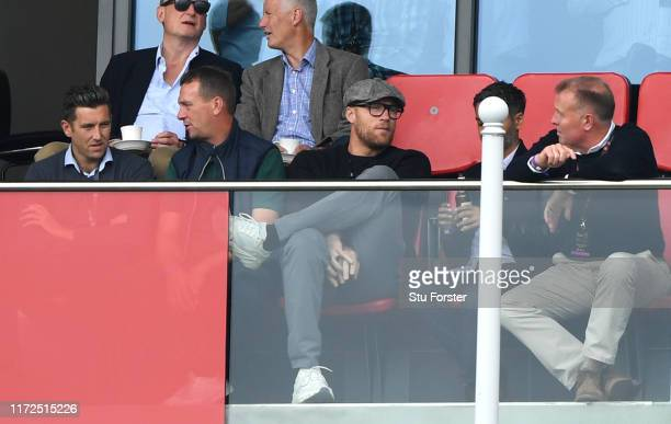 Former England All rounder and TV presenter Andrew 'Freddie' Flintoff watches play from the hospitality boxes during day two of the 4th Ashes Test...