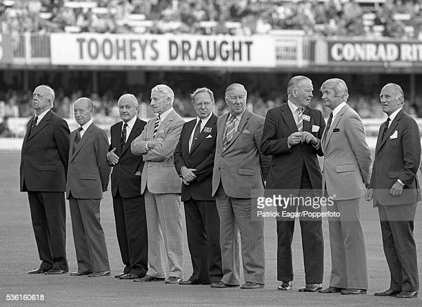 Former England and Australia Test captains Bob Wyatt Lindsay Hassett Gubby Allen Cyril Walters Arthur Morris Norman Yardley Freddie Brown Richie...