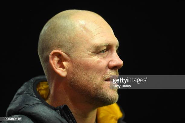 Former England and Gloucester Rugby Player Mike Tindall looks on during the Gallagher Premiership Rugby match between Gloucester Rugby and Exeter...