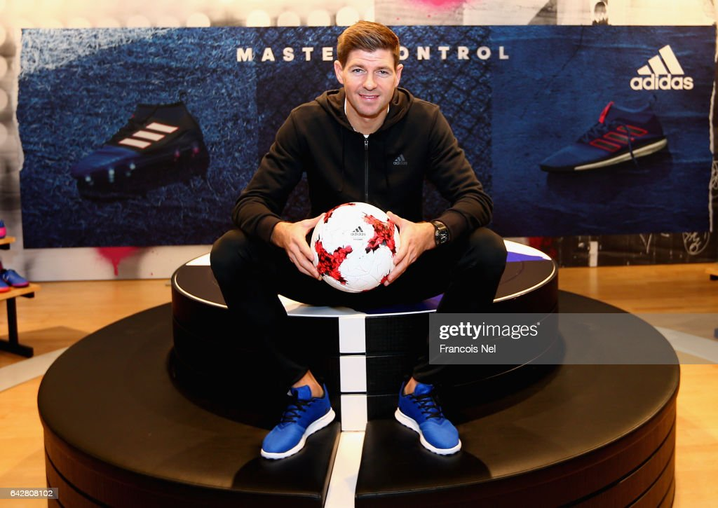 Former England and Liverpool FC captain Steven Gerrard meets fans at the adidas store in Mall of the Emirates on February 19, 2017 in Dubai, United Arab Emirates. The midfielder spoke with budding young football stars, signed autographs and took pictures with the public.