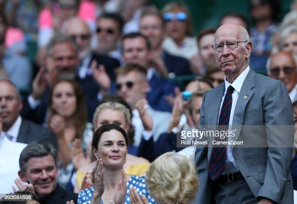 Former England and Manchester United footballer Bobby Charlton in the Royal box on Centre Court at All England Lawn Tennis and Croquet Club on July 7...