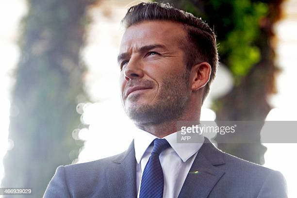 Former England and Manchester United star David Beckham during a press conference at the Perez Art Museum Miami in Miami Florida on February 5 2014...
