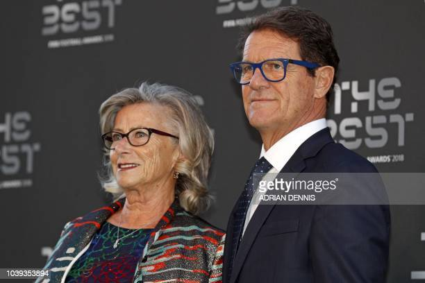 Former England and Russia manager Italian coach Fabio Capello and his wife Laura Ghisi arrive for The Best FIFA Football Awards ceremony on September...