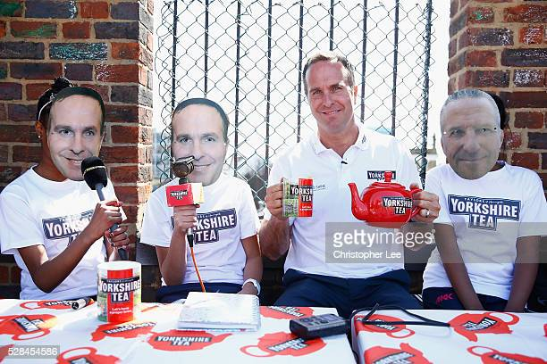 Former England and Yorkshire Cricketer Michael Vaughan joins pupils of the Hague School wearing Michael Vaughan and Ian Botham mask's in the...