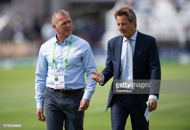 Former England batsman Alec Stewart and former Hampshire batsman Mark Nicholas during day two of the Second Specsavers Test Match between England and...