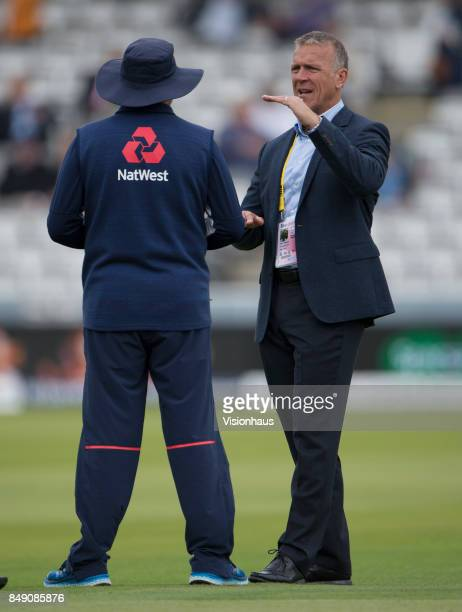 Former England batsman Alec Stewart chatting to England Coach Trevor Bayliss during Day One of the 3rd Investec Test Match between England and West...