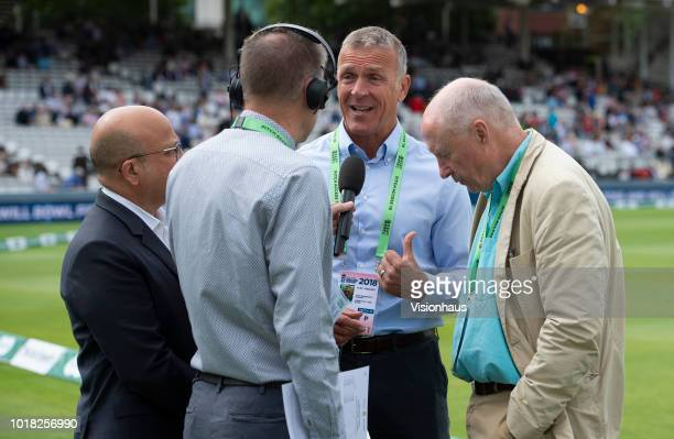 Former England batsman Alec Stewart working as part of the BBC Test Match Special team during day two of the Second Specsavers Test Match between...