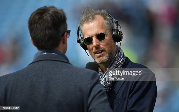 Former England batsman and broadcaster Ed Smith interviews Graeme Swann before day two of the 1st Investec Test match between England and Sri Lanka...
