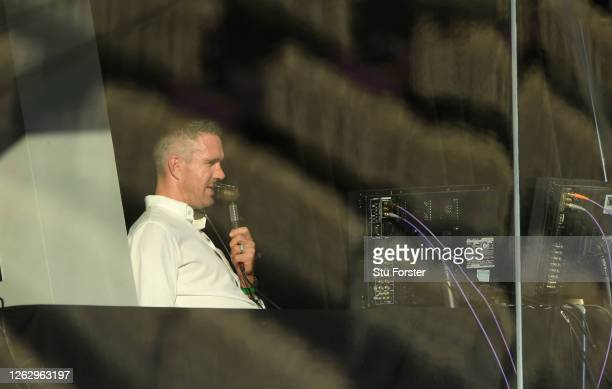 Former England batsman Kevin Pietersen in the Sky Commentary booth during the First One Day International between England and Ireland in the Royal...