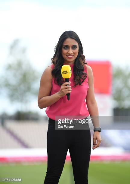 Former England bowler Isa Guha pictured on BBC Television commentator duty during the 2nd Vitality International Twenty20 match between England and...