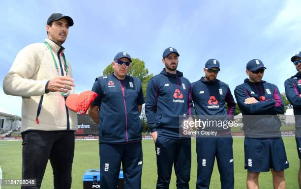 Former England bowler Steven Finn speaks to the team in the huddle ahead of game one of the Twenty20 International series between New Zealand and...
