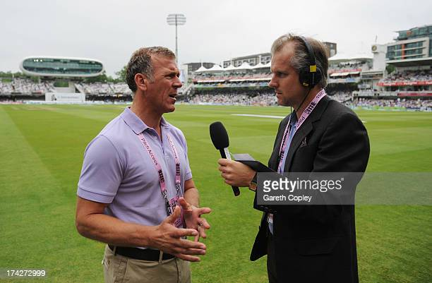 Former England captain Alec Stewart talks to Ed Smith during day four of the 2nd Investec Ashes Test match between England and Australia at Lord's...