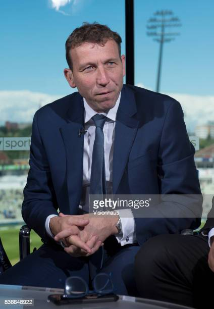 Former England captain and current Sky Sports commentator Michael Atherton during day two of the 1st Investec test match between England and West...
