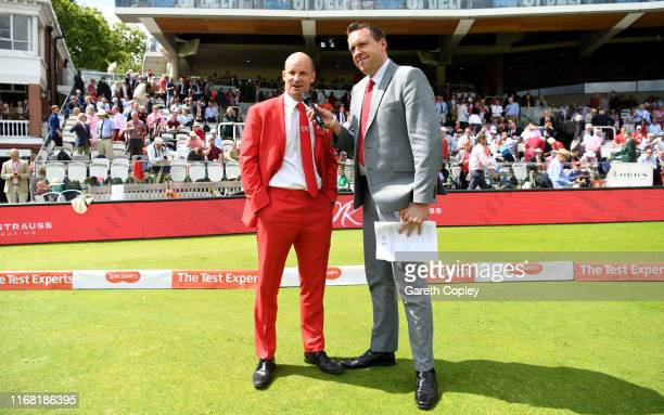 Former England captain Andrew Strauss appeals for people to donate to the Ruth Strauss Foundation during day two of the 2nd Specsavers Ashes Test...
