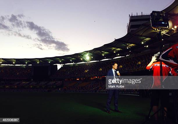Former England Captain Andrew Strauss commentates for Sky Sports during day four of the First Ashes Test match between Australia and England at The...