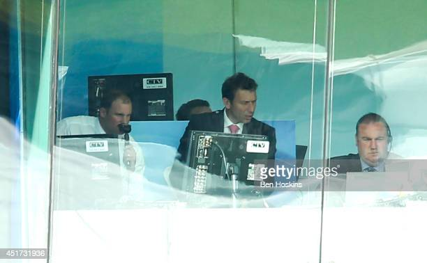 Former England captain Andrew Strauss commentates on the game during the MCC and Rest of the World match at Lord's Cricket Ground on July 5 2014 in...